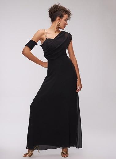 People By Fabrika Zincirli Abiye Elbise Siyah